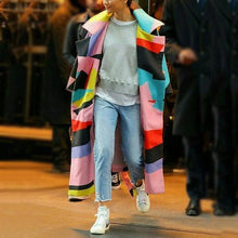 Load image into Gallery viewer, Fashion Multi Color Blocking Long Sleeve Coat