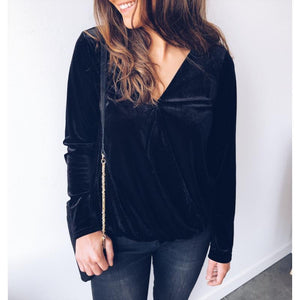 Casual Pure Color Sexy   Comfortable V Neck Blouse