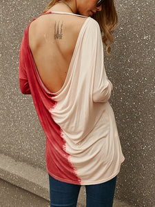 Long Sleeve Gradient Backless T-Shirt