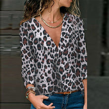 Load image into Gallery viewer, Sexy V-Neck Loose Leopard Long Sleeve Shirt