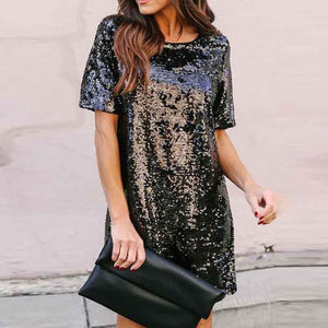 Crew Neck  Cutout Patchwork  Contrast Stitching Glitter  Plain Shift Dresses