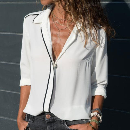 Fashion V Collar Plain Lapel Button Blouse
