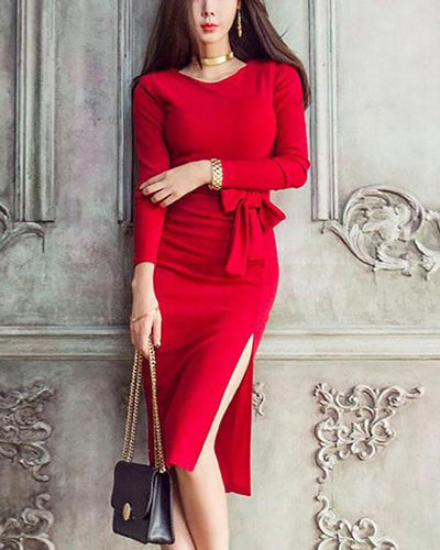 Elegant  Round Collar Plain Slim Belted Bodycon Dress