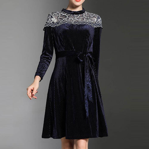 Round Collar Velvet Hollow Embroidery Skater Dress