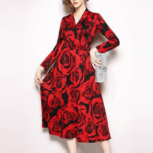 V Collar Long Sleeve Rose Printing Skater Dress