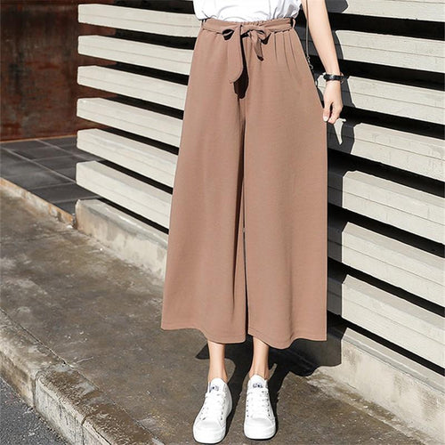 Joker Loose Chiffon Casual Straight With Nine Points High Waist Pants