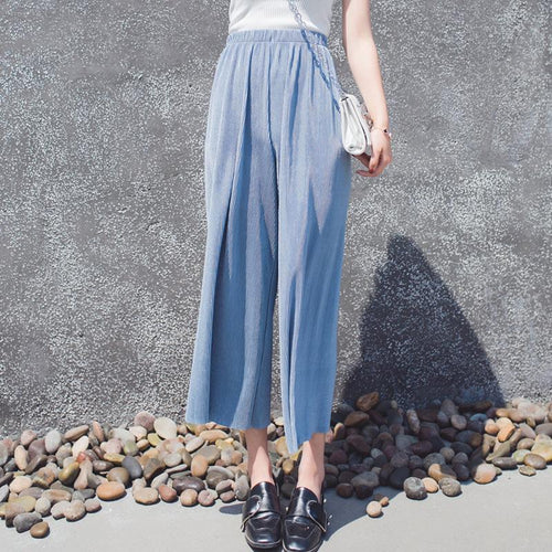 Fashion Loose Show   Thin Ninth Wide Leg Pants