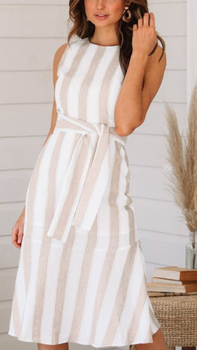 Fashion Casual Linen Striped skater Dress
