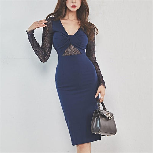Fashion Openwork Lace Long Sleeve Slim Mid-Length Hip Skirt