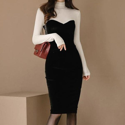 Casual Sexy High Collar Velvet Stitching Bodycon Dresses