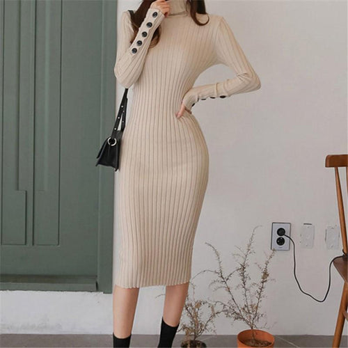 Casual Sexy High Collar Pure Color Knitted Bodycon Dresses