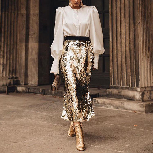 Big Sequins Open Versatile Skirt