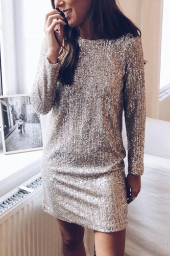 Round Neck  Glitter  Plain  Long Sleeve Casual Dresses
