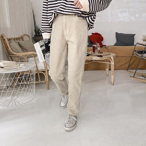 Fashion Loose Plain Straight Corduroy Pants