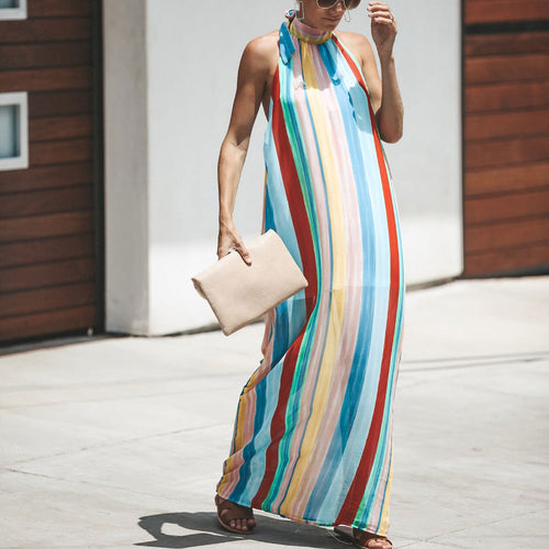 Casual Colorful Striped Loose Halter Vacation Dress
