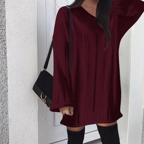 V Neck Casual Loose Knitting Casual Dresses