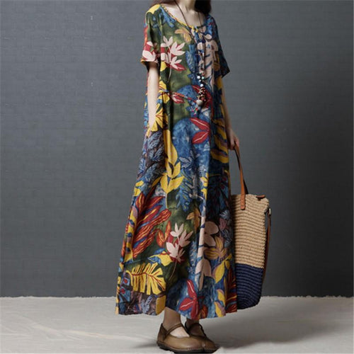Casual Loose Big Size   Show Thin Floral Print Maxi Dresses