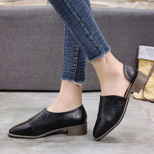 Fashion Pointed Head Plain Low Heel Flat Shoes