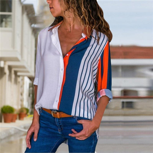 Solid Color V-Neck Stitching Long Sleeve Casual Chiffon Blouses