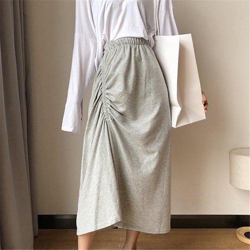 Casual High Waist Slim Pleated  Skirt