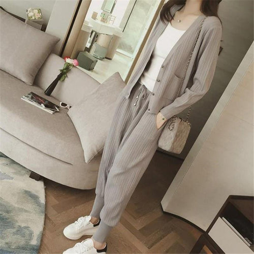 Casual Knitted Cardigan With Jogger Pants Two Piece Suit