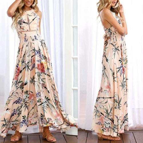 Printed Beach Skirt Openwork Halter Lace Dress