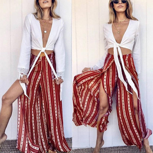 Fashion Printed Stripe Split Pants