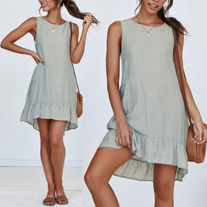 Fresh Round Neck Sleeveless Ruffled Loose Solid Color Comfortable Dress