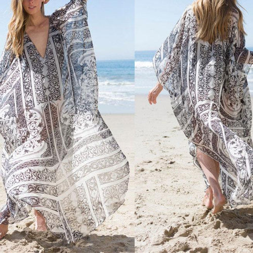 Casual V Collar Oversize Loose Floral Printed Vacation Dress