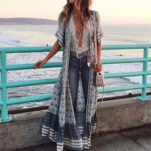Load image into Gallery viewer, Bohemia Half Sleeve Floral Maxi Swing Outerwear Dress