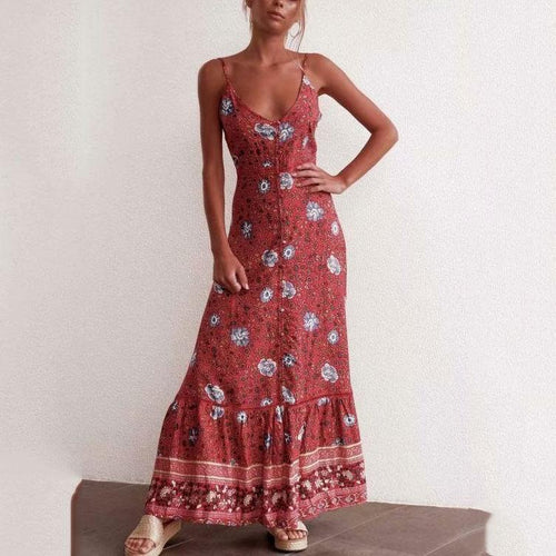 Bohemia Style Floral Printed Summer Beach Vacation Dress