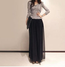 Load image into Gallery viewer, Casual High Waist   Loose Slim Bohemian Style Pure Color Chiffon Wide Leg Pants