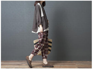 Casual High Waist Slim National Style Cotton And Linen Plaid Haren Pants