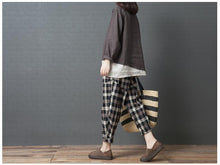 Load image into Gallery viewer, Casual High Waist Slim National Style Cotton And Linen Plaid Haren Pants