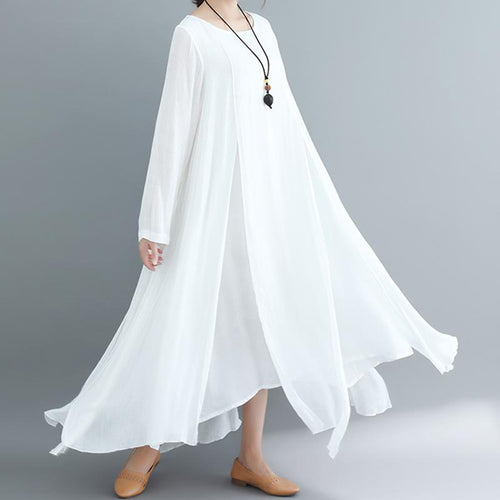 Casual Loose Plus Size   Long Sleeve Pure Color Maxi Dresses