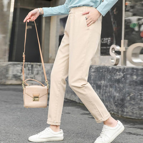 Casual High Waist Slim   Show Thin Pure Color Elastic Pencil Pants