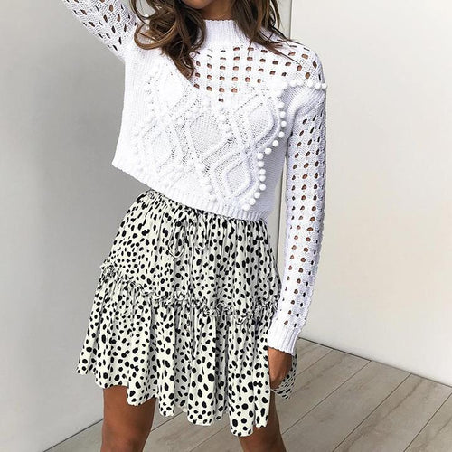 Fashion Dot Print Stitching High Waist Women's Skirt