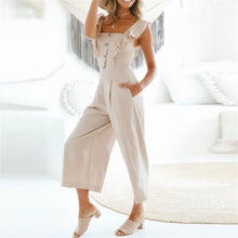 Load image into Gallery viewer, Sweet Plain Flouncing Slim Button Embellished Jumpsuit