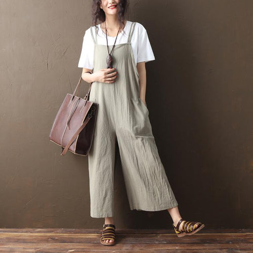 Summer Plain Casual Loose Wide Leg Jumpsuit