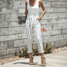 Load image into Gallery viewer, Fashion Striped Belted Slim Summer Pants