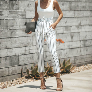 Fashion Striped Belted Slim Summer Pants
