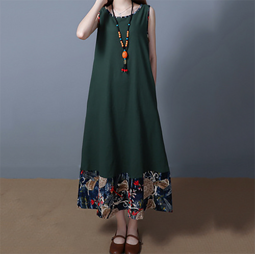 National Style Loose Cotton And Linen Vest Dress