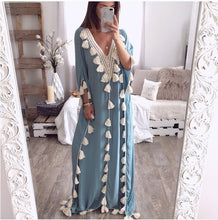 Load image into Gallery viewer, Chic V Collar Loose Fringe Decorated Vacation Dress