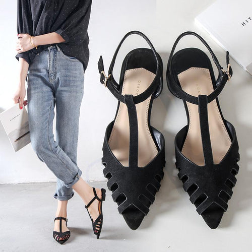 New Summer Pointed Flat Hollow Shoes
