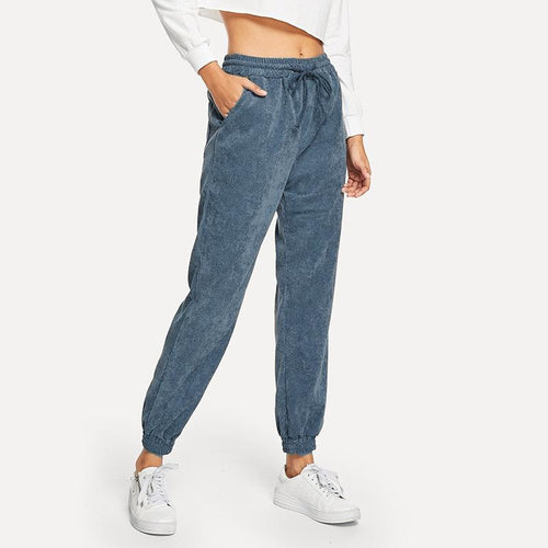 Casual Sexy High Waist   Slim Show Thin Frenulum Corduroy Trousers Jogger Pants