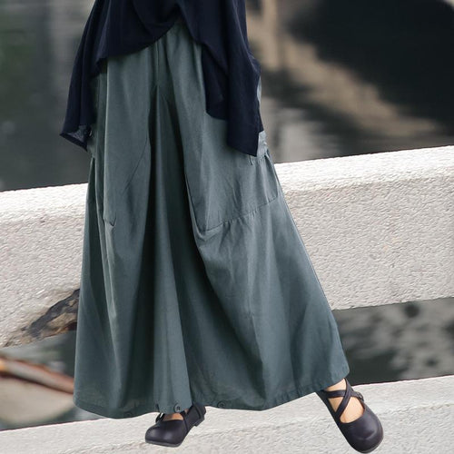 Casual Loose Plus Size   Pure Color Linen Trousers Pantskirt Wide Leg Pants