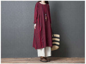 Casual Loose Plus Size   National Style Long Sleeve Strips Maxi Dresses
