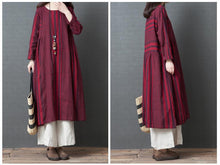 Load image into Gallery viewer, Casual Loose Plus Size   National Style Long Sleeve Strips Maxi Dresses