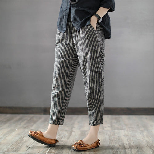 Casual Elastic  Waist Striped Loose Pants