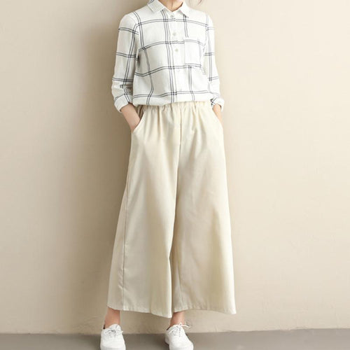 Casual Loose Plus Size   Pure Color Wide Leg Pants